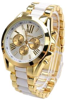 GENEVA นาฬิกาข้อมือ บอยไซส์ ใส่ได้ทั้งชายและหญิง รุ่น GP8501(White/ Gold) สายแสตนเลส Luxuary