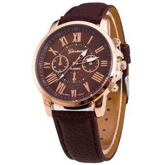 Geneva นาฬิกาแฟชั่น นาฬิกาข้อมือผู้หญิง สายหนัง สีน้ำตาล Leather Women Watch - Brown