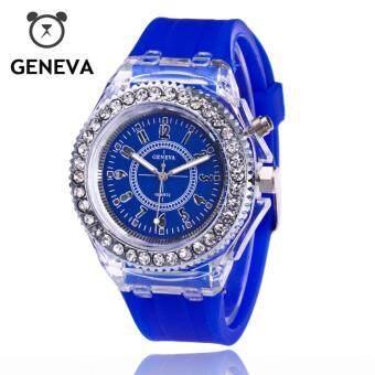 ราคา Geneva Spot Quartz Racing light Wrist Watch นาฬิกาข้อมือผู้ชาย หน้าปัดล้อมเพชร มีปุ่มไฟเรืองแสง สายซิลิโคลน กันน้ำ