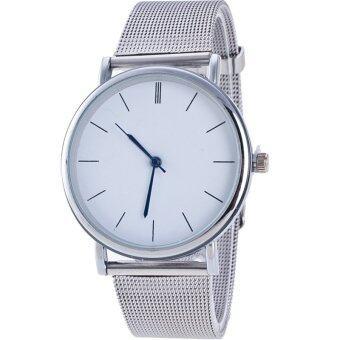 GENEVA Watch นาฬิกาข้อมือแฟชั่นผู้หญิง สวยๆ สายเหล็กสี หน้าปัดขาว รุ่น MG0004 (Silver)
