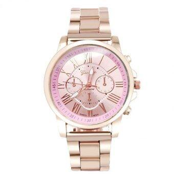 GENEVA watch นาฬิกาข้อมือแฟชั่น ลำลอง ผู้หญิง หน้าปัด Pink สีชมพู สายเหล็กสีทอง รุ่น WM0050