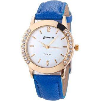 GENEVA Women Watch นาฬิกาข้อมือผู้หญิง PU Leather Strap 0011 (Blue)
