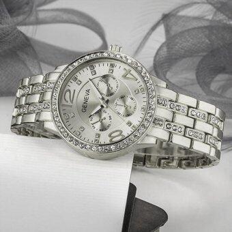 Geneva Women's Rose Golden Stainless Steel Strap Watchนาฬิกาข้อมือ(Silver) (image 2)