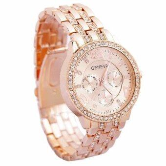Geneva นาฬิกาข้อมือผู้หญิง WP8502(Pink Gold)พิเศษแถมซองนาฬิกาสวยหรู
