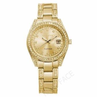 Geneva นาฬิกาข้อมือผู้หญิง มีวันที่ รุ่น WP8521 ( Gold) แถมซองนาฬิกาสุดหรู