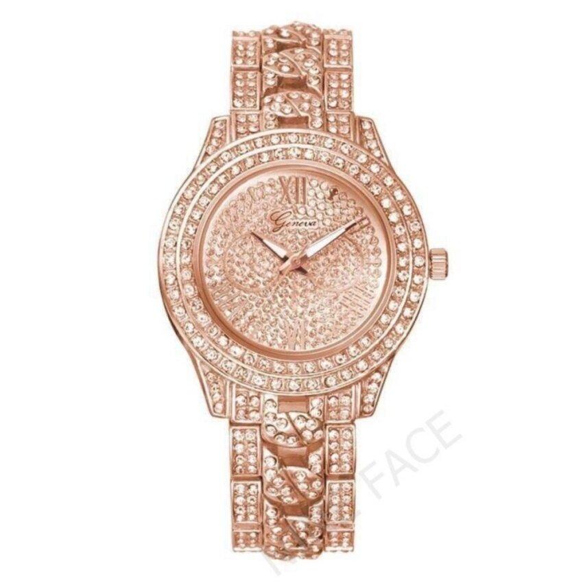 Geneva นาฬิกาข้อมือผู้หญิง สวยหรู รุ่น WP8527 (Pink Gold) แถมซองนาฬิกาสุดหรู