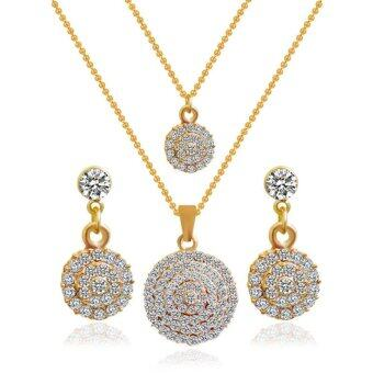 Gold Plated Flower Austrian Crystal Jewelry Set Necklace/Earrings - intl