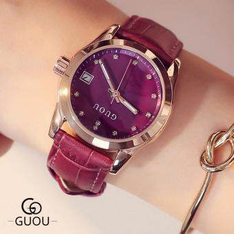 Harga Guou Luxury Brand Day Date Genuine Leather Strap Woman's CasualQuartz Clocks Lady Sports Watches Gold Wristwatch RelogioFemale(Purple) - intl