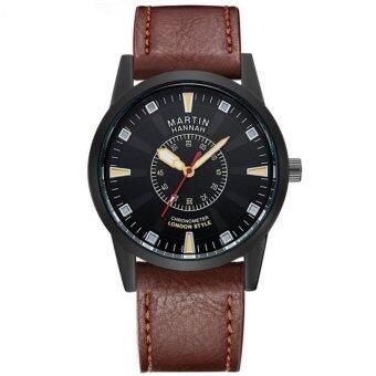ราคา HANNAH MARTIN นาฬิกาข้อมือสุภาพบุรุษสายหนัง สีCoffee รุ่น HM1701