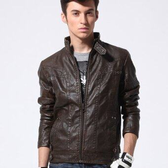 HAOFEI Mens Leather Motorcycle Coats (Brown) รูบที่ 2