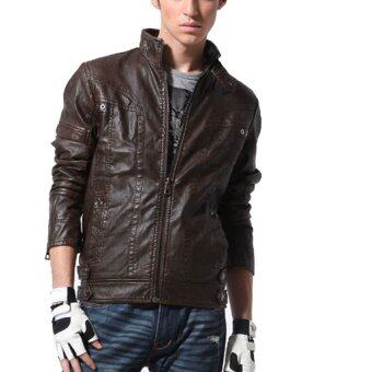 HAOFEI Mens Leather Motorcycle Coats (Brown) รูบที่ 3