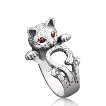 Harga Hequ New Chic Hippie Vintage Anel Punk Kitty Wedding Ring Boho Chic Brass Knuckle Animal Cat Rings For Women Men Fine Jewelry (Color: Silver) Silver- - intl