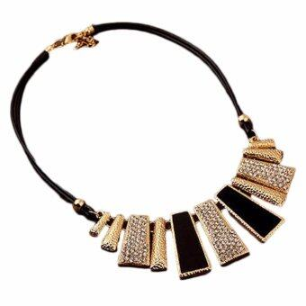 Hequ new chic Jewelry Pendant Chain Crystal Choker Chunky Statement Bib Necklace Charm Collarbone Chain Pendant Necklace Sweater Chain Black - intl