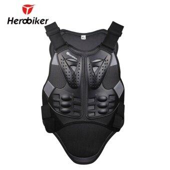 HEROBIKER รถจักรยานยนต์เกราะ Motocross Racing เกราะสีดำรถจักรยานยนต์ขี่ป้องกันร่างกายแจ็คเก็ตที่มีสะท้อนแถบ MC102B