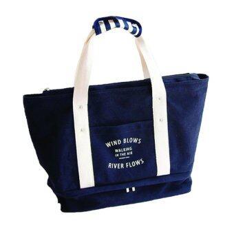 กระเป๋าผ้าแคนวาส ทรง Bowling ( Navy )
