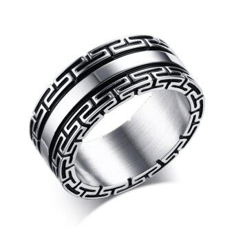 Harga Hot Chinese Style Men's Jewelry Classic Stainless Steel Titanium The Great Wall Ring Size:9-12 - intl