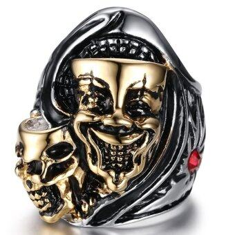 Harga Two Heads Ghost Ring Stainless Steel Jewelry Men Jewelry Shiny Rhinestone High polished(Export) - INTL