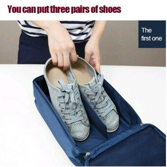 Harga TravelGear24 กระเป๋ารองเท้า กระเป๋าใส่รองเท้า Shoes Pouch Portable Shoes Organizer Shoes Bag (Navy/น้ำเงิน)
