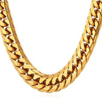 "Harga U7 28"" Chunky Hip Hop 18K Gold Plated Necklace(Gold)"