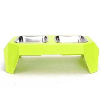 Harga New Pet Dog Cat Double Stainless Steel Bowl Dish Food Feeder RaisedStand Holder Light Green (Intl) NEW - intl