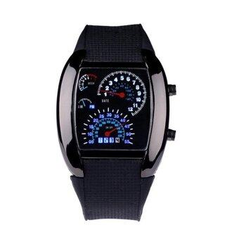 Harga Fashion Aviation Turbo Dial Flash LED Watch Gift Mens Lady Sports Car Meter Black - intl