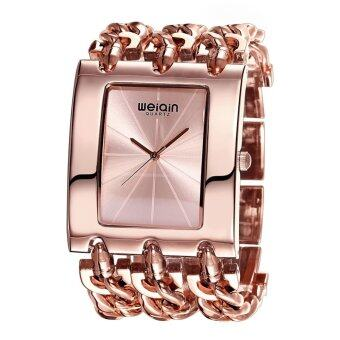 Harga WEIQIN Brand Women Luxury Fashion Rose Gold Square Shaped Dial Bangle Watches 278102(Gold) - Intl