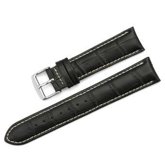 Harga iStrap 21mm Genuine Calf Leather Watch Band Croco Grain Tan Stitch Tang Buckle - Black