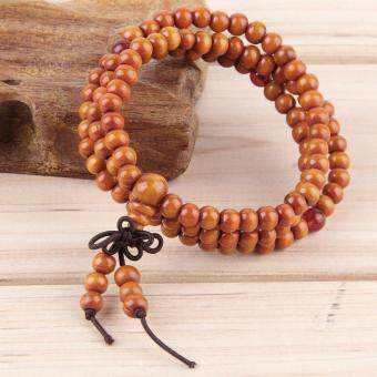 Harga OH Sandalwood 6mm 108 Buddhist Prayer Beads Mala Multi-layer Wood Bracelet