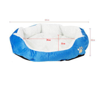 Harga niceEshop Cute Paw Print Comfortable Puppy Kitten Nest Pad Soft Fleece Bed(M,Dark Blue)