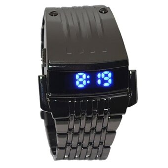 Harga Men Stainless Steel Mens Blue LED Digital Sport Quartz Wrist Watch Black - intl