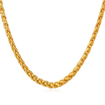 Harga U7 18K Real Gold Plated Chain Necklace (Gold)