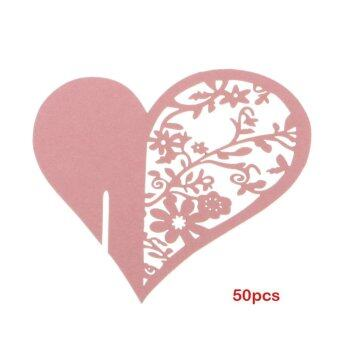 Harga 50PCS Fashion Heart-shaped Wine Glass Place Card Wedding Party Decor Pink