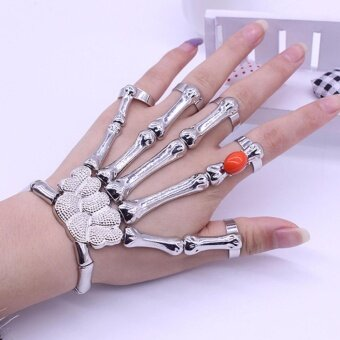 Harga Hequ Chic Fashion Jewelry Gothic Bones Skull Skeleton H Fingers Ring Bracelet new chic style Silver - intl