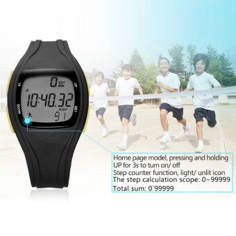 Harga The High Quality TTLIFE Children's Primary School Students Colorful Sports Digital Pedometer Waterproof Luminous Watch(black)