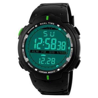 Harga Fashion Men LED Digital Date Military Sport Rubber Quartz Watch Alarm Waterproof Green - intl