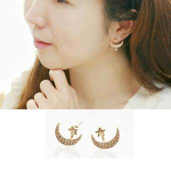 Harga BUYINCOINS Women 1 Pair Yellow Gold Filled Moon Star Shape Crystal Rhinestone Stud Earrings - intl