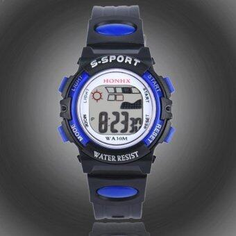Harga Waterproof Children Boys Digital LED Sports Watch Kids Alarm Date Watch Gift Blue - intl