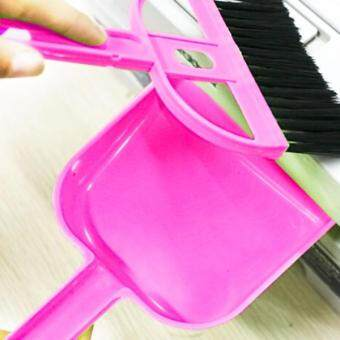 Harga Mini Desktop Car Keyboard Sweep Cleaning Brush Small Broom Dustpan Set(Magenta) - intl