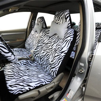 Harga Short Plush White Zebra Seat Covers Set Universal Fit Most Car Seats Steering Wheel Cover Shoulder Pad Car Seat Cover