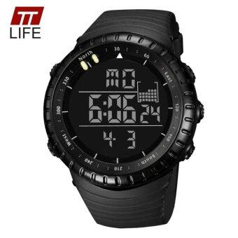 Harga TTLIFE Luminous LED Large Face Mens Watches Waterproof Shockproof Stopwatch Calendar Backlight Digital Sports Watch Men Alarm - intl