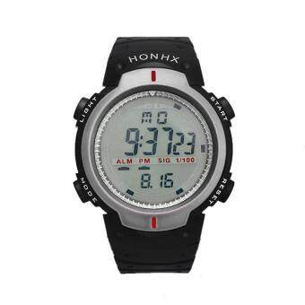 Harga Waterproof Outdoor Mountaineering Sports Men Digital LED Quartz Wrist Watch Silver - intl