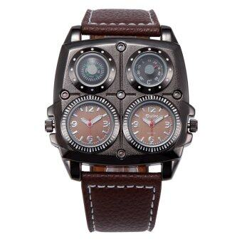 Harga OULM Dual Time Stainless Steel Dial Military Sport Watch (Brown)