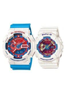 Harga Casio G-Shock & Baby-G Men's &Women's GA-110AC-7A & BA-112-7A Couple Resin Strap Watch Blue/White
