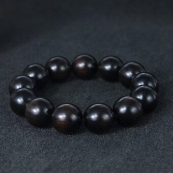 Harga Wood Bracelet Buddha Buddhist Prayer 13 pcs 18mm Sandal Wood Beads Wrist Ornament Black - intl