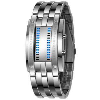 Harga Luxury Men's Stainless Steel Date Digital LED Bracelet Sport Watches Silver - intl