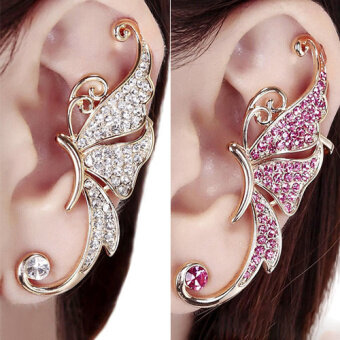 Harga 1pc Fashion Womens Butterfly Wing Ear Clip Clamp Rhinestone Earring For Left Ear Pink