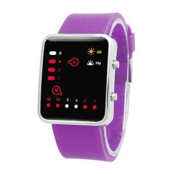 Harga Women Mens Digital Red LED Sports Watch Binary Wristwatch Silicone Purple - intl