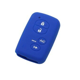 Harga CV2406DB Silicone Cover Holder Fit for Toyota Prius 4 Button Smart Remote Key (Deep Blue)