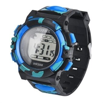 Harga LED Digital Electronic Multifunction Waterproof Child Kids Boy's Girl's Watch Blue - intl