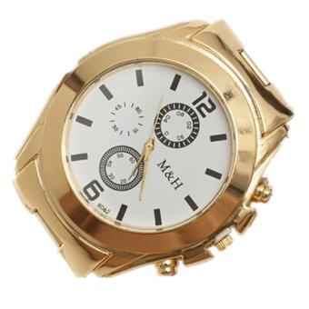 Harga Stainless Steel Sport Quartz Wrist Hour Gold Bracelet Big Dial Watch (Gold)